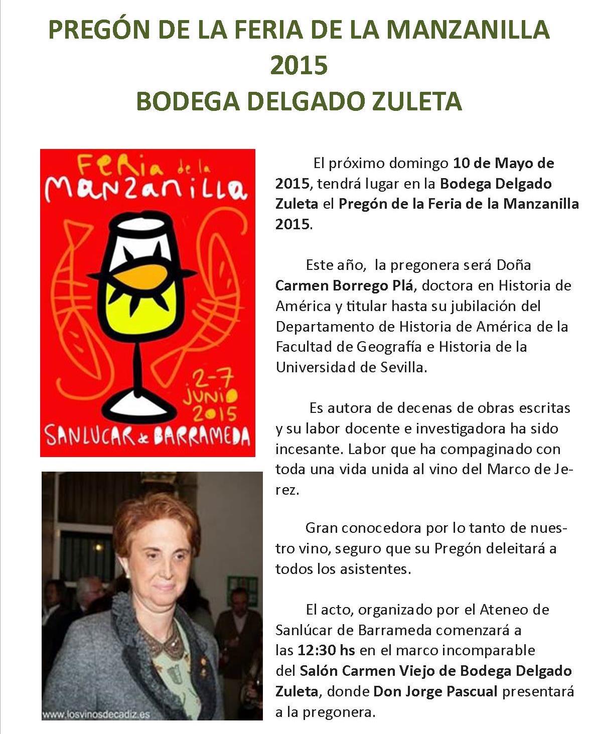 Pregón de la Feria de la Manzanilla 2015 en DelgadoZuleta