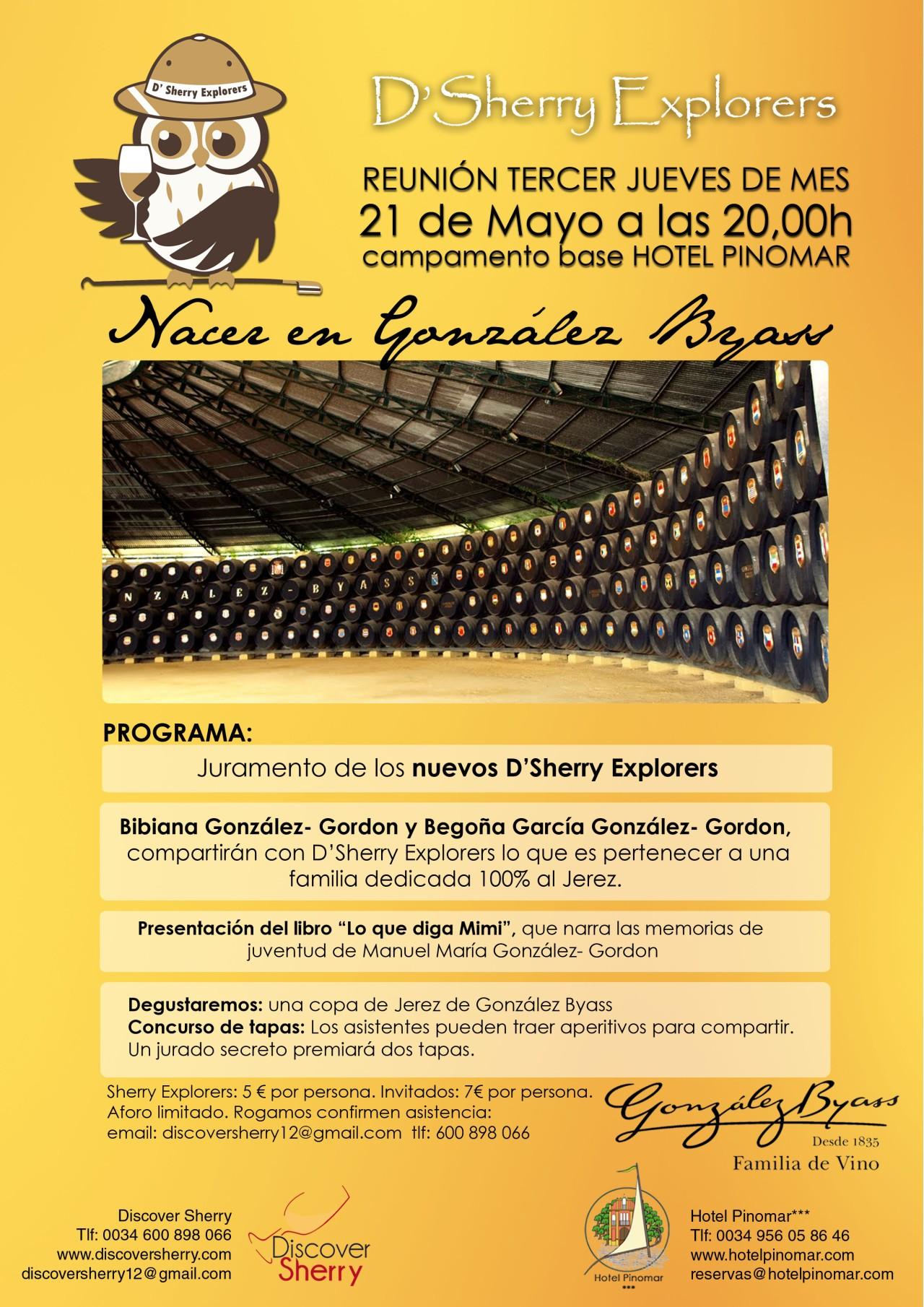 "21 de mayo, Tercer Jueves de D´Sherry Explorers, ""Nacer en GonzálezByass"""