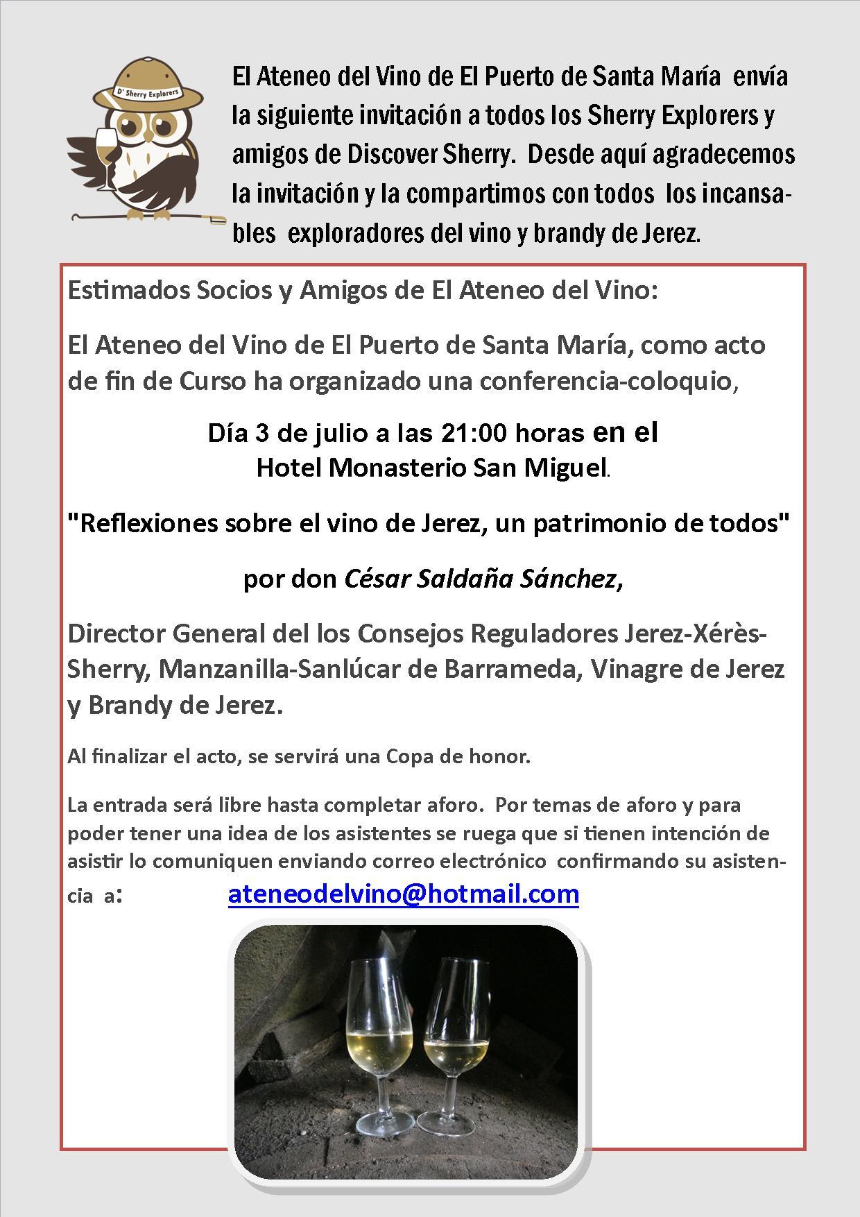 Invitación Ateneo del Vino,  3 de julio, 21:00h