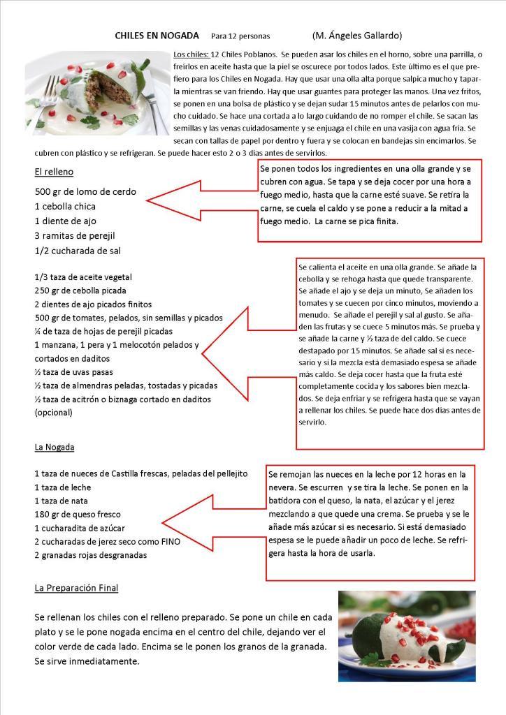 Chiles en Nogada Spanish
