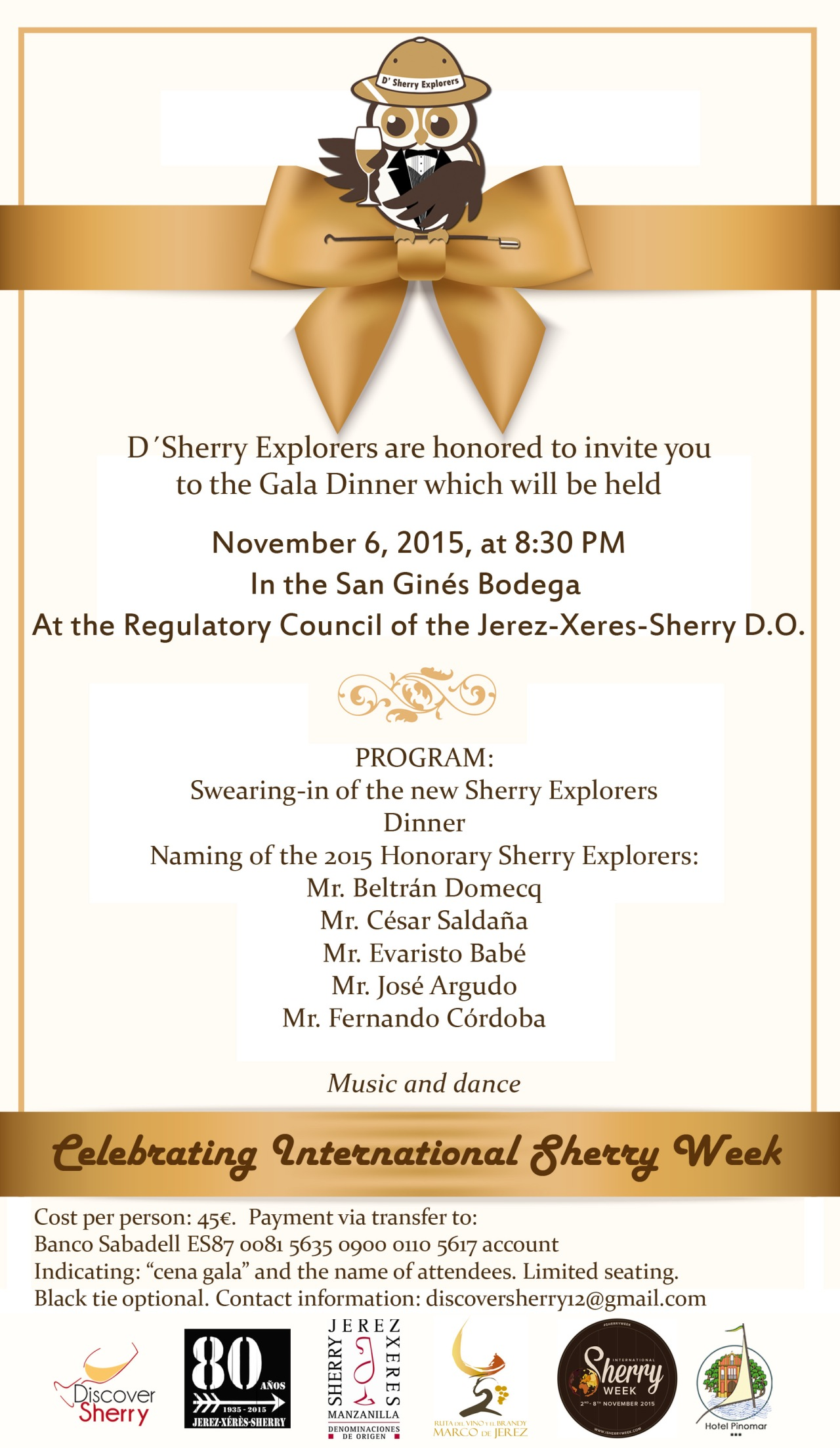 D´Sherry Explorers Gala Dinner at the Bodega San Ginés in Jerez