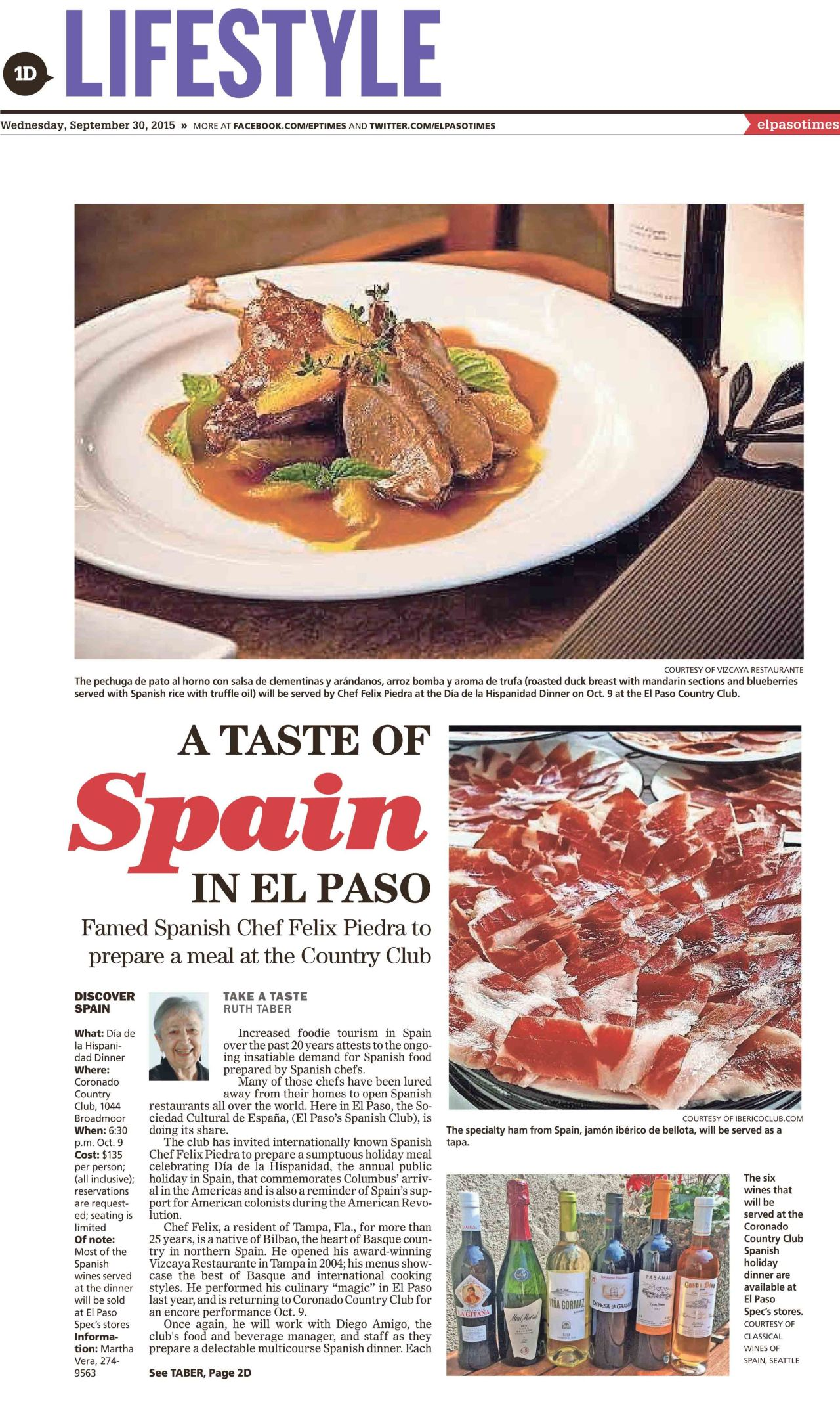 "Manzanilla La Gitana at ""A Taste of Spain in El Paso"", by Ruth Taber, El Paso Times. (English)"