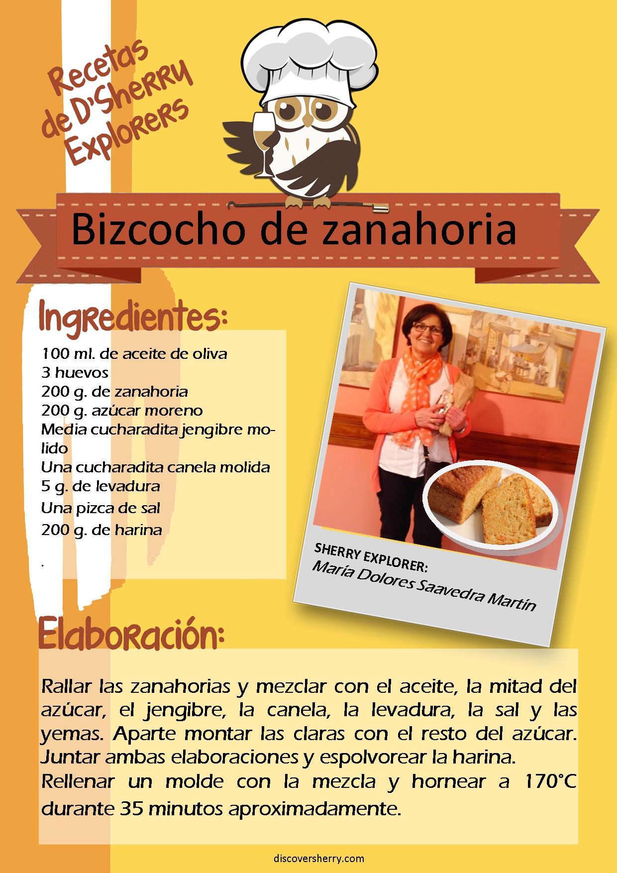 Receta D´Sherry Explorers: Bizcocho dezanahoria.