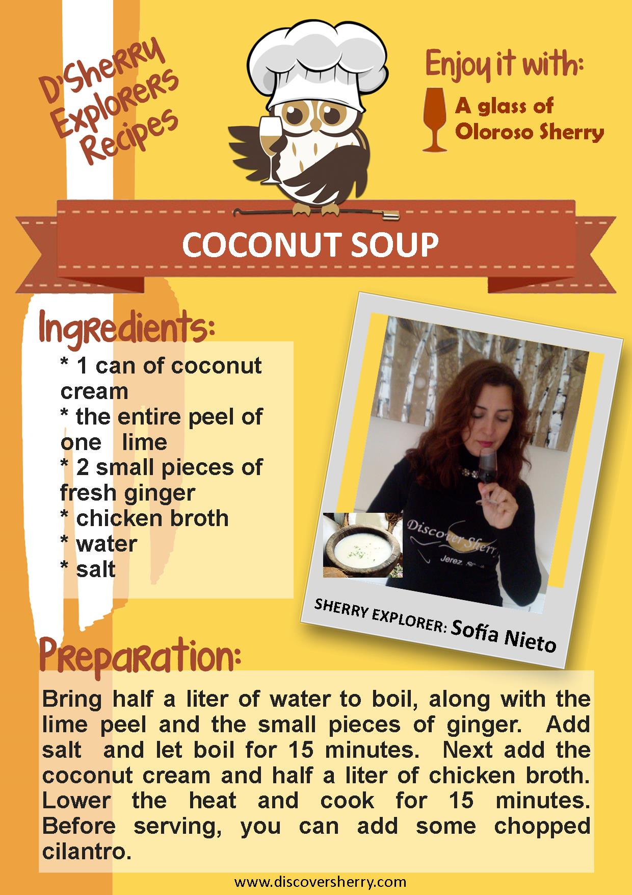 D´Sherry Explorers´ Recipes: Coconut Soup. Recetas de  D´Sherry Explorers: Sopa de Coco