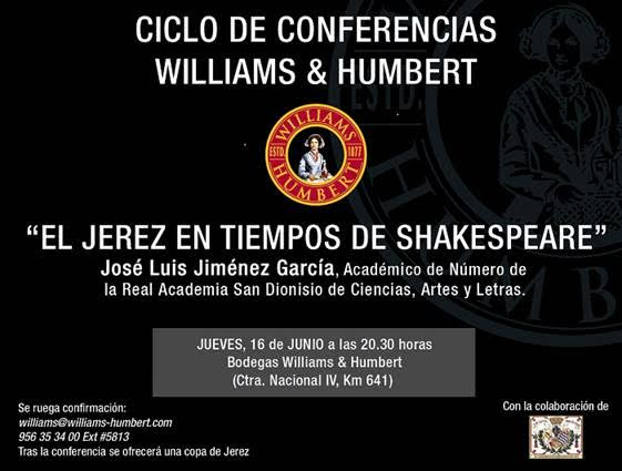 "Discover Sherry recommends: ""El Jerez en tiempos de Shakespeare"" en Williams and Humbert"