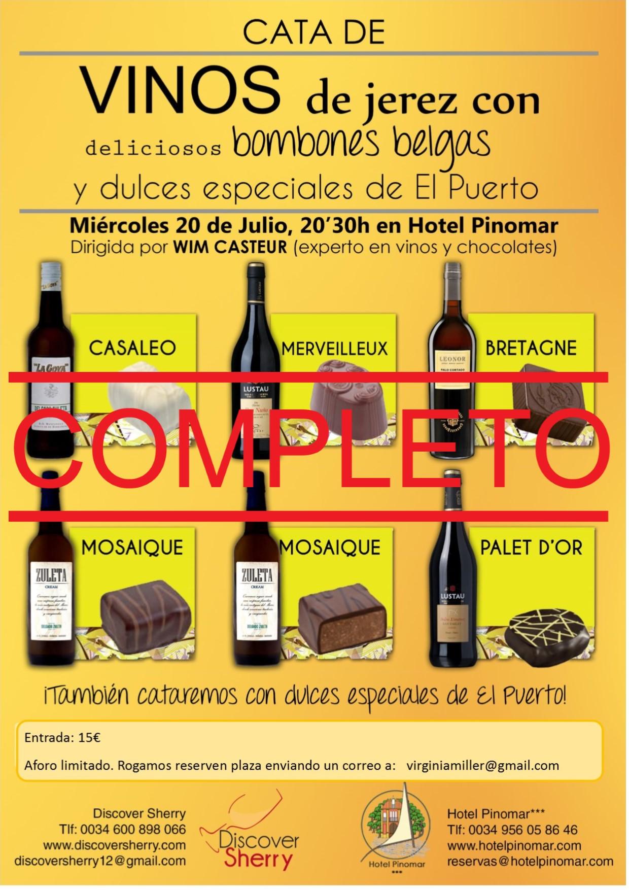 Cata de vinos de Jerez, Bombones Belgas y Dulces de El Puerto: AFORO COMPLETO(Spanish)