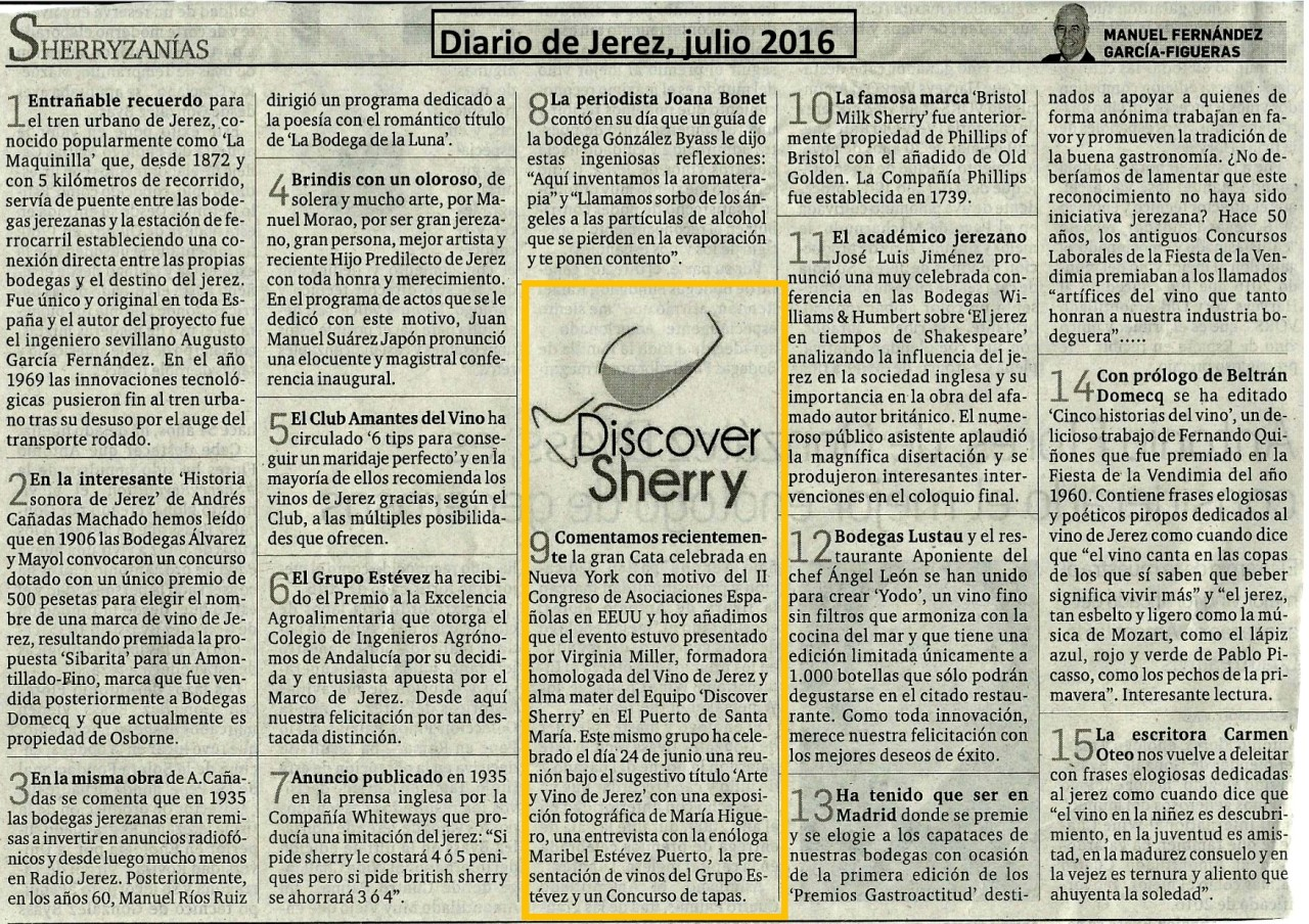 Diario de Jerez: Sherryzanías sobre Discover Sherry.(Castellano)