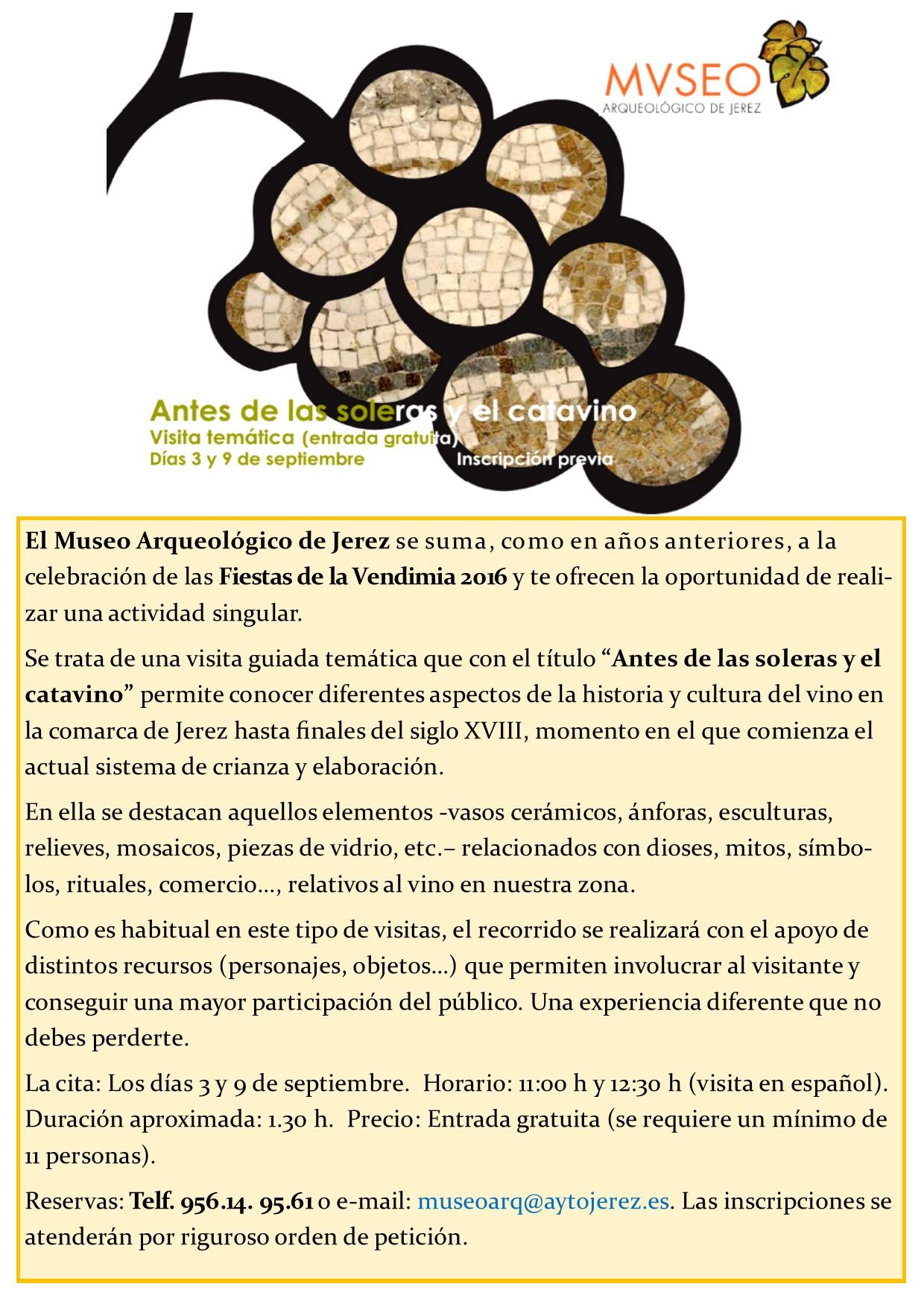 """Discover Sherry recommends: """"Antes de las soleras y el catavino"""" en el Museo Arqueológico de Jerez.(Spanish)"""