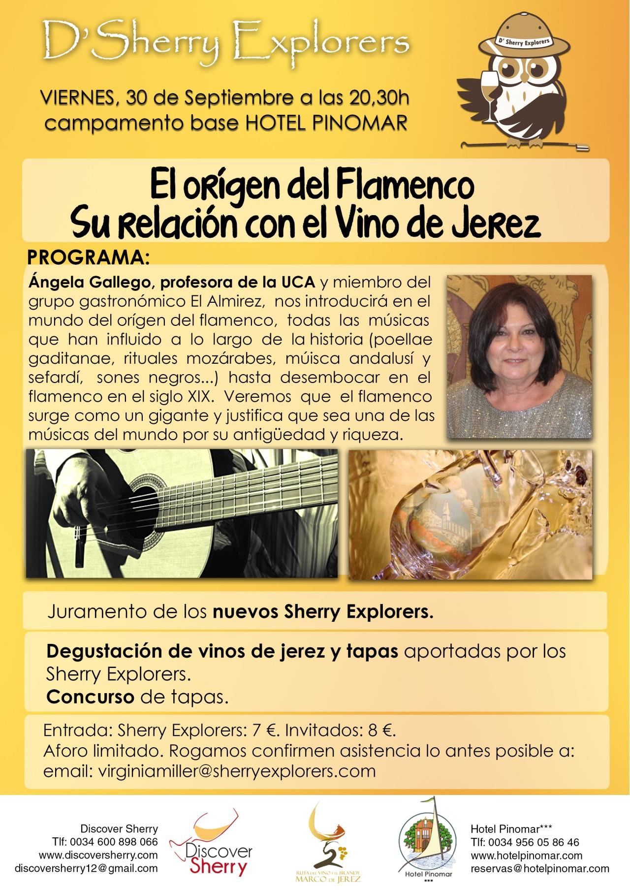 """""""El Origen del Flamenco. Su relación con el Vino de Jerez"""" en la próxima reunión de los Sherry Explorers / """"The Origin of Flamenco. It´s relationship with Sherry Wine."""" Next Sherry Explorers´meeting."""