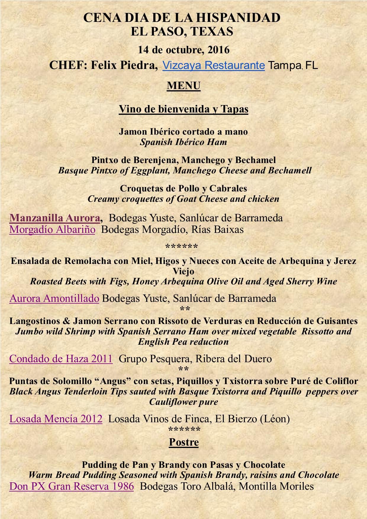 Cena del Día de la Hispanidad in El Paso, Texas./Spanish Heritage Day Dinner in El Paso,Texas