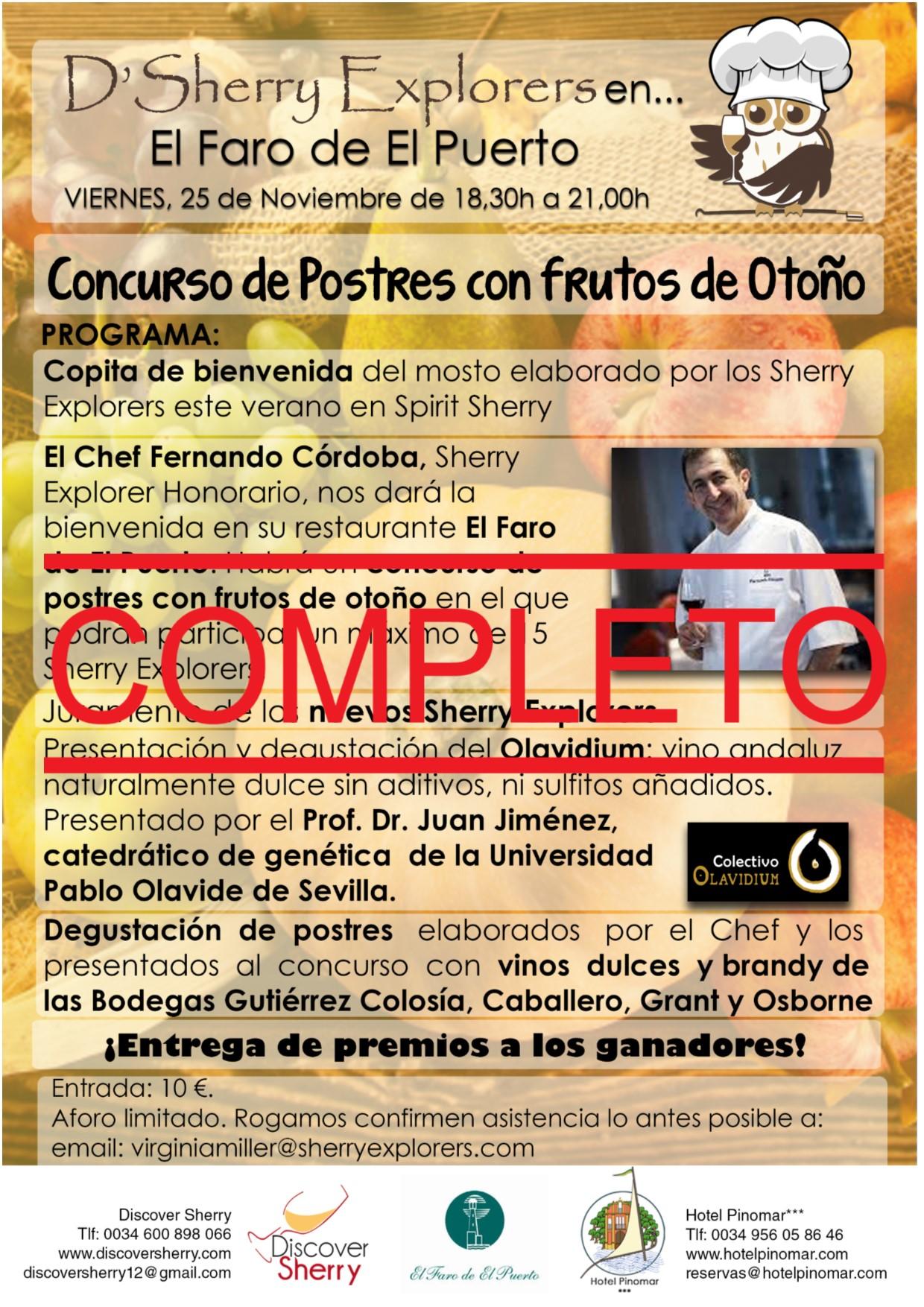 Próxima actividad en El Restaurante el Faro:COMPLETA