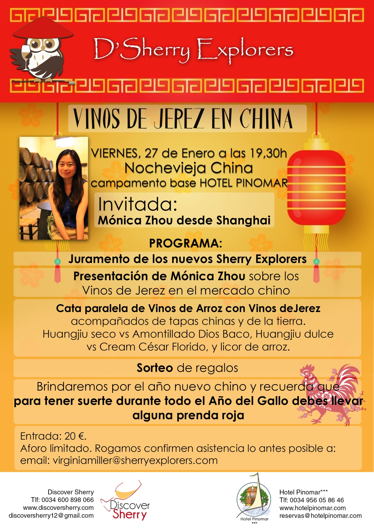 Mónica Zhou invitada a la reunión de los Sherry Explorers en la nochevieja china / Mónica Zhou will be D´Sherry Explorers´ guest on Chinese New Year´s eve