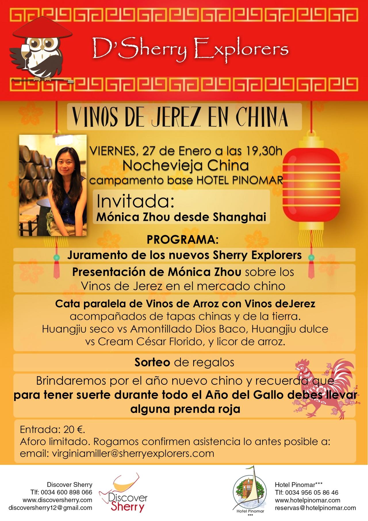 Mónica Zhou invitada a la reunión de los Sherry Explorers en la nochevieja china / Mónica Zhou will be D´Sherry Explorers´ guest on Chinese New Year´seve