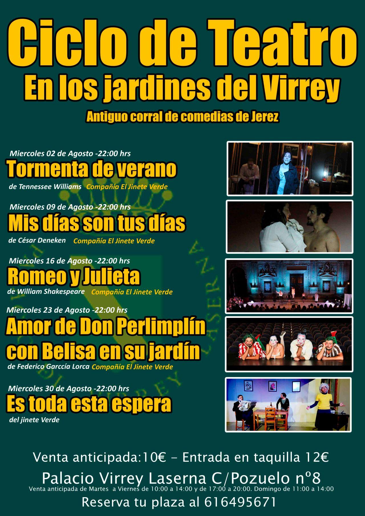 Discover Sherry recommends: Ciclo de Teatro en los jardines del Palacio del Virrey Laserna, Jerez.(Spanish)