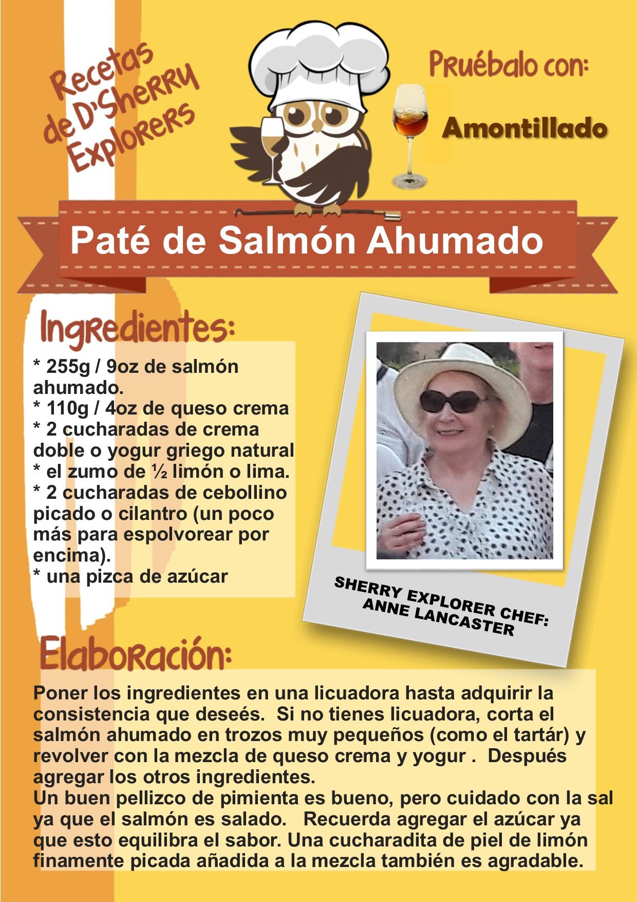 Recetas de los Sherry Explorers: Paté de Salmón Ahumado de Anne Lancaster(Spanish)