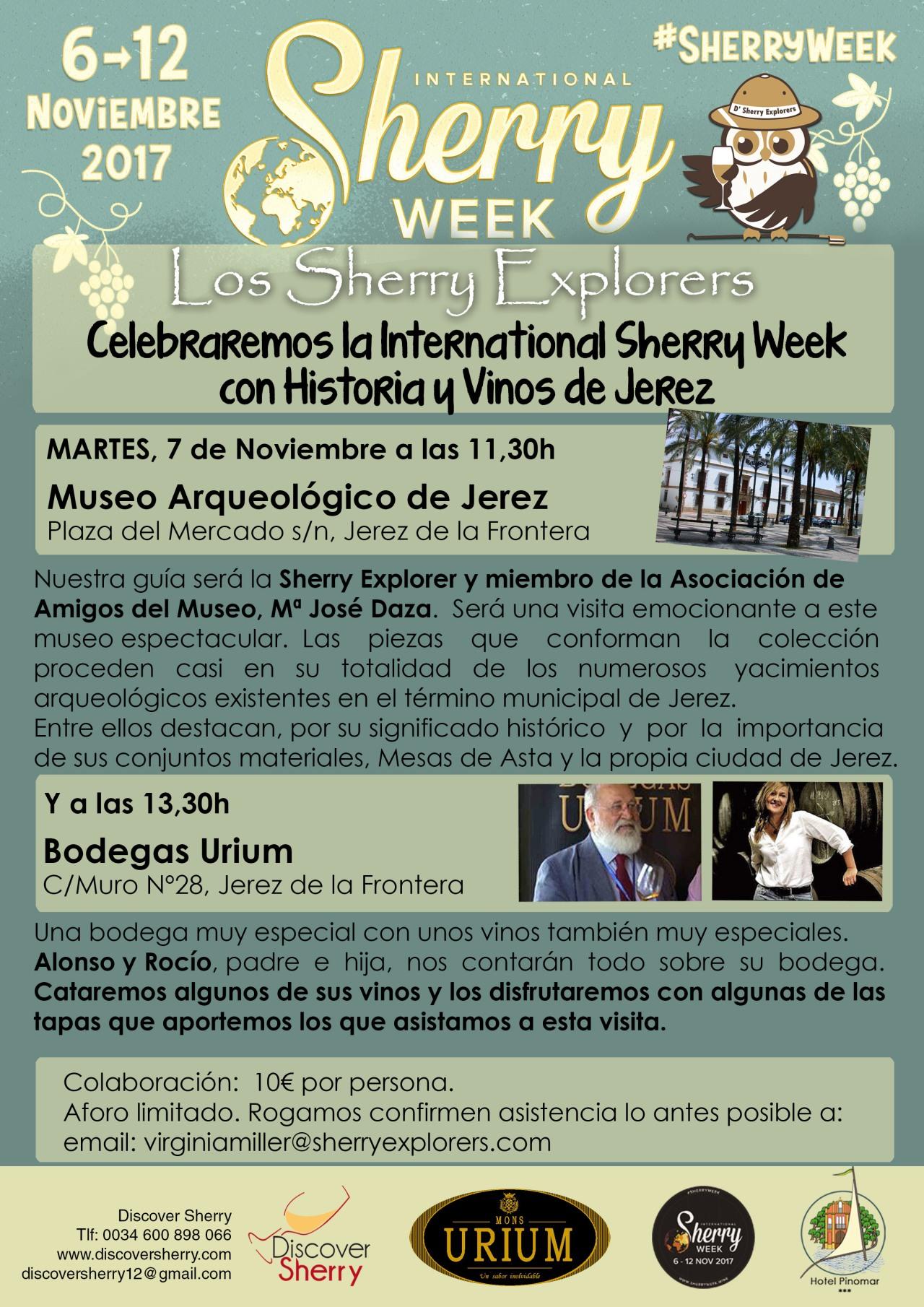 International Sherry Week: D´Sherry Explorers visitan el Museo Arqueológico y la Bodega Urium.(Spanish)