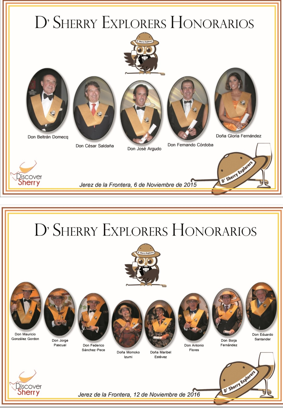 Sherry Explorers Honorarios 2015-2016 / 2015-2016 Honorary Sherry Explorers