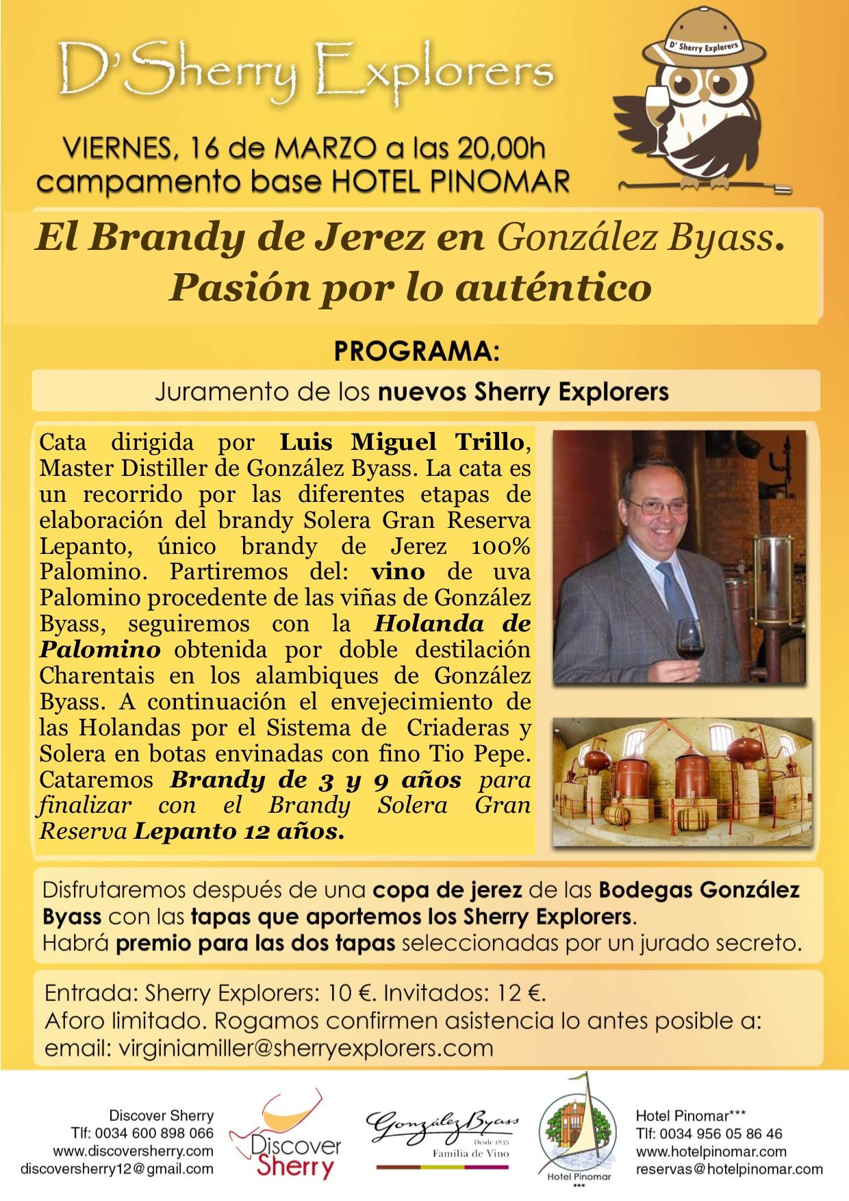 Master Distiller de González Byass, Luis Miguel Trillo, invitado de la reunión mensual de los Sherry Explorers.(Spanish)