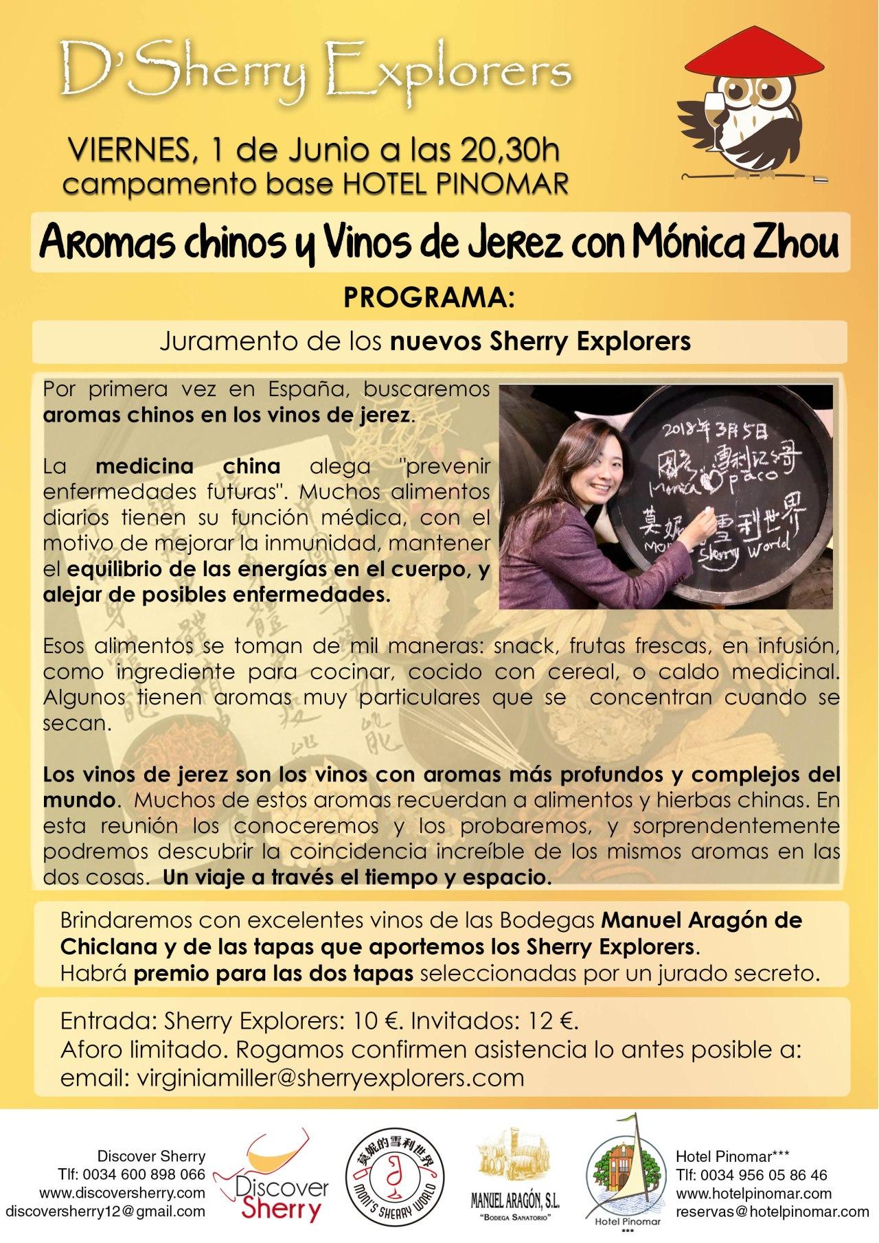 Aromas chinos y Vinos de Jerez con Mónica Zhou, la próxima reunión de los SherryExplorers