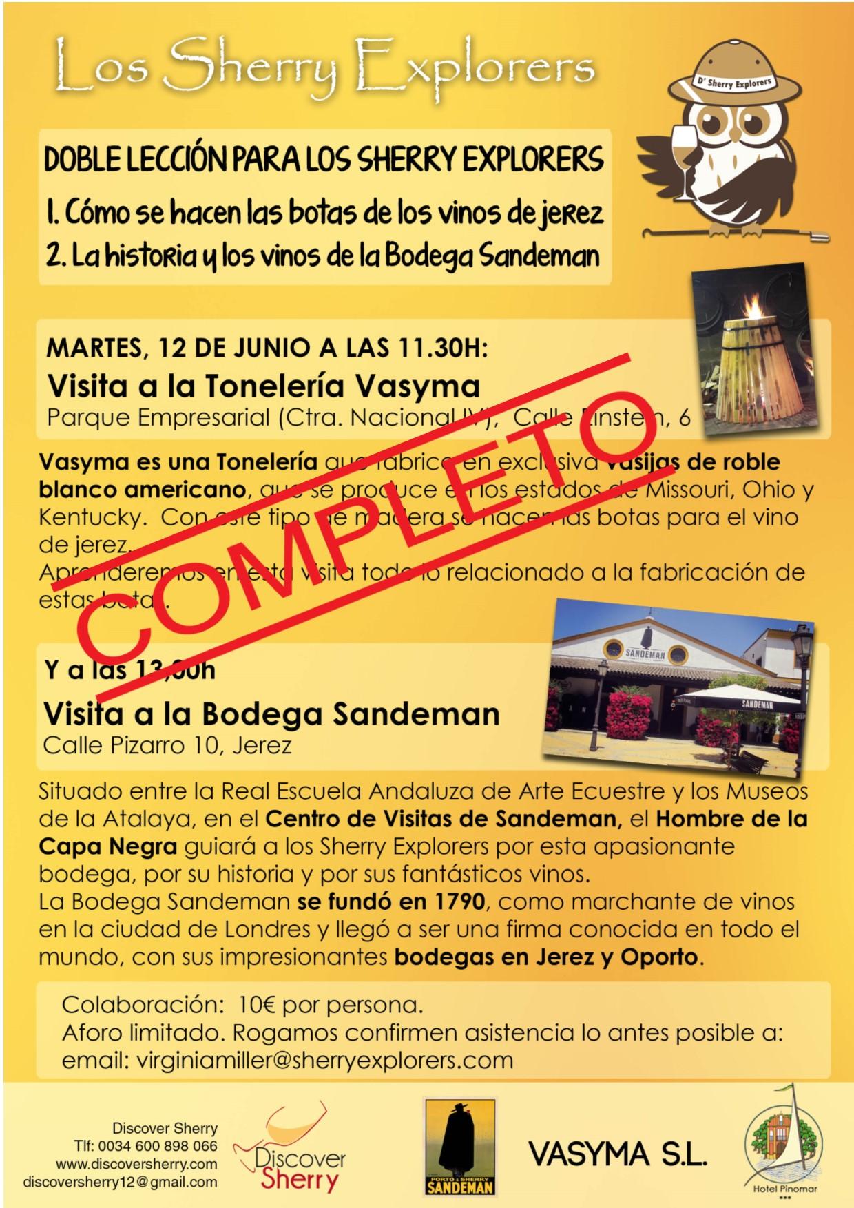 Tonelería VASYMA y Bodega SANDEMAN, COMPLETA la próxima actividad de los SherryExplorers