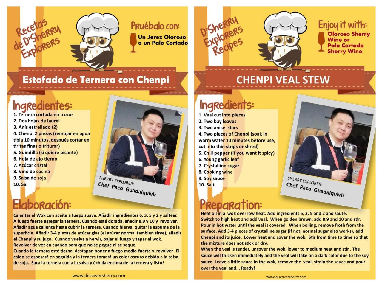 Receta de Paco Zhu-Guadalquivir: Estofado de ternera con Chenpi /  Chenpi VealStew