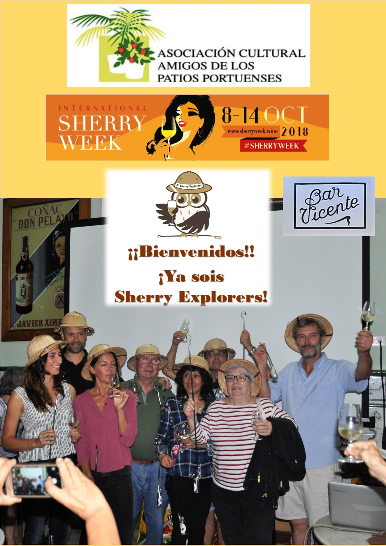 International Sherry Week con la Asociación de Amigos de los Patios Portuenses en el Bar Vicente/ Celebrating International Sherry Week, with the Association of the Friends of El Puerto´s Patios, at the Bar Vicente