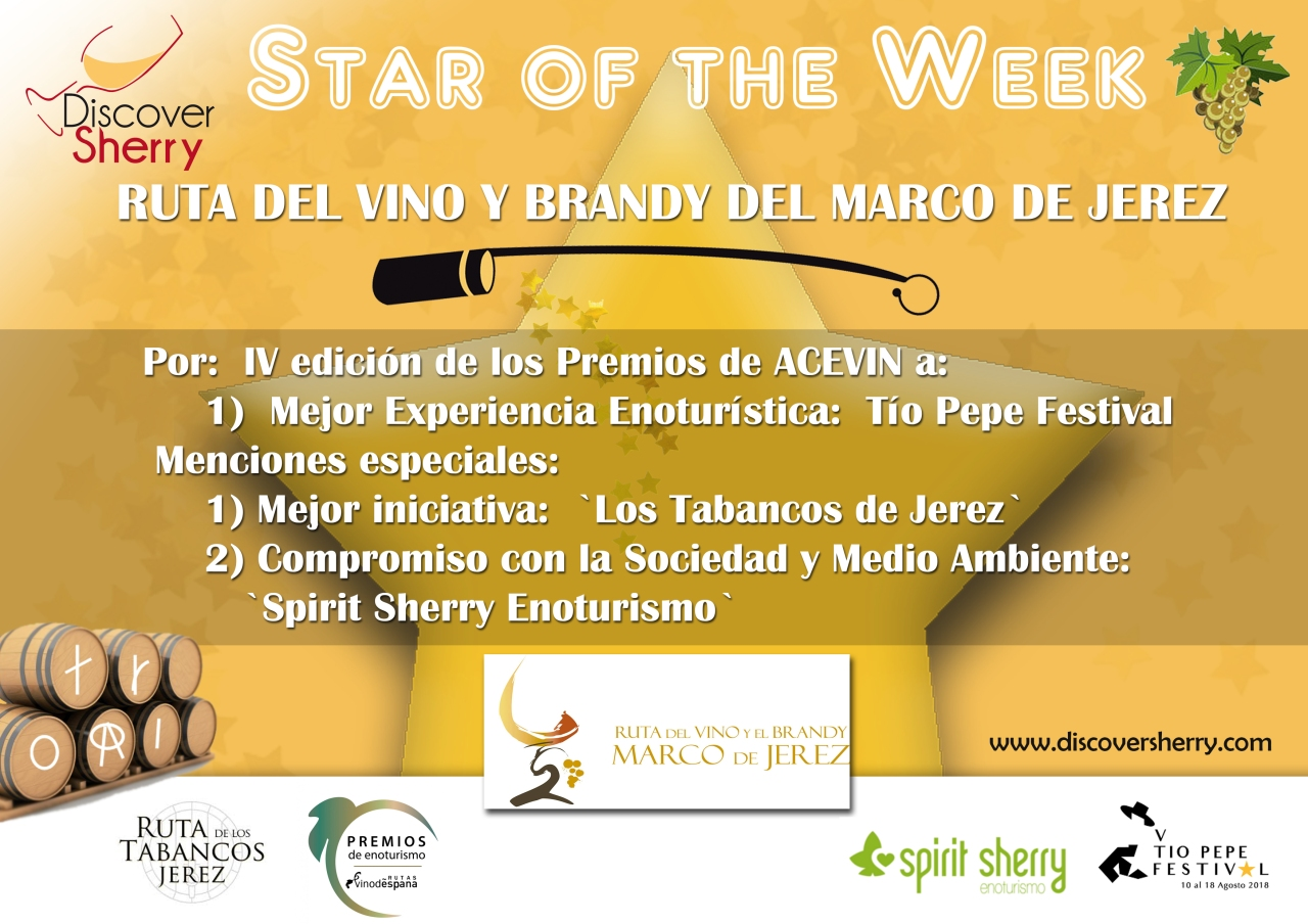 Star of the Week: Premios de ACEVIN a la Ruta del Vino y Brandy del Marco deJerez