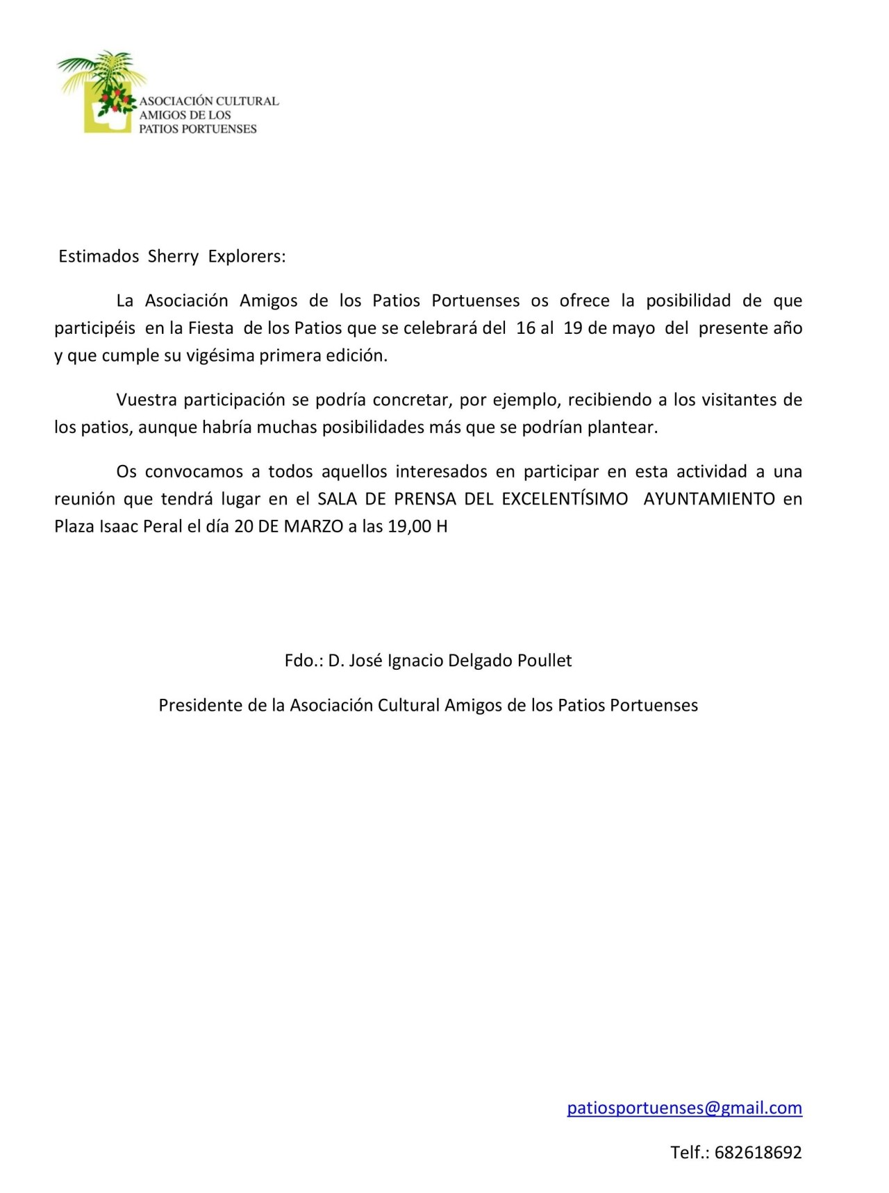 Carta la Asociación Cultural Amigos de los Patios Portuenses(Spanish)