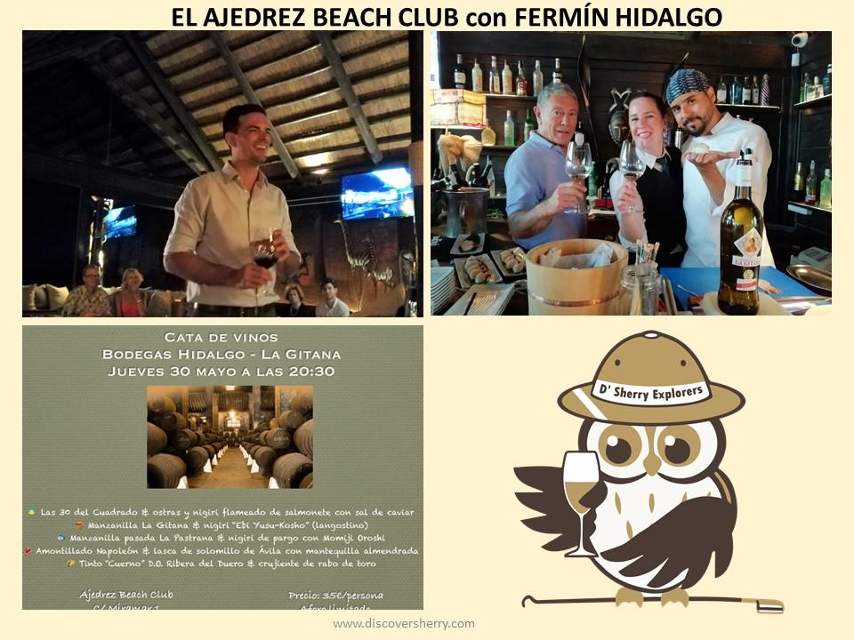 Cata de Bodegas Hidalgo La Gitana en El Ajedrez Beach Club/Wine tasting by Hidalgo La Gitana Winery at the Ajedrez BeachClub