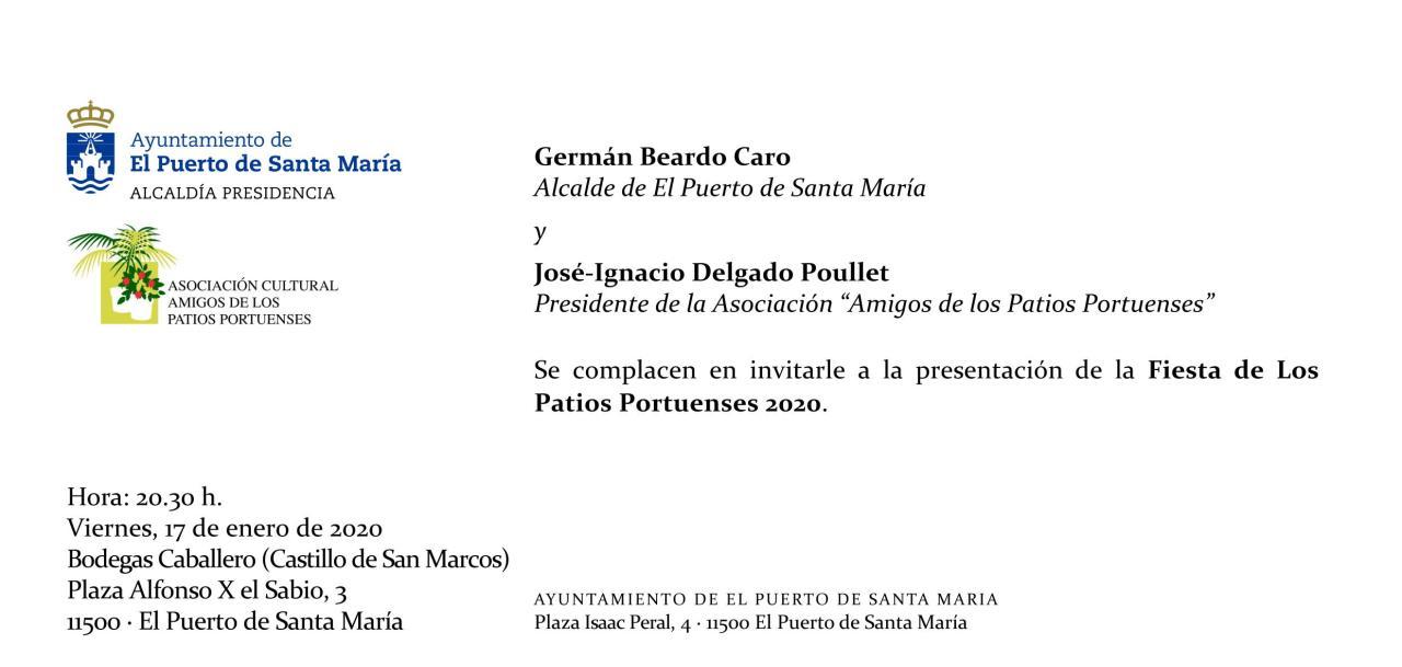Invitación a la presentación de la Fiesta de Los Patios Portuenses(Spanish)