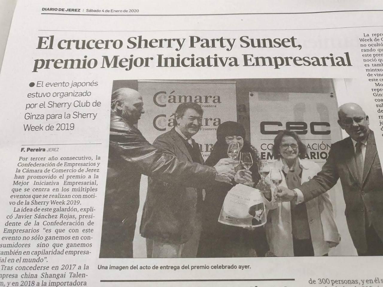 El crucero Sherry Party Sunset, premio Mejor Iniciativa Empresarial (Diario de Jerez.Spanish)