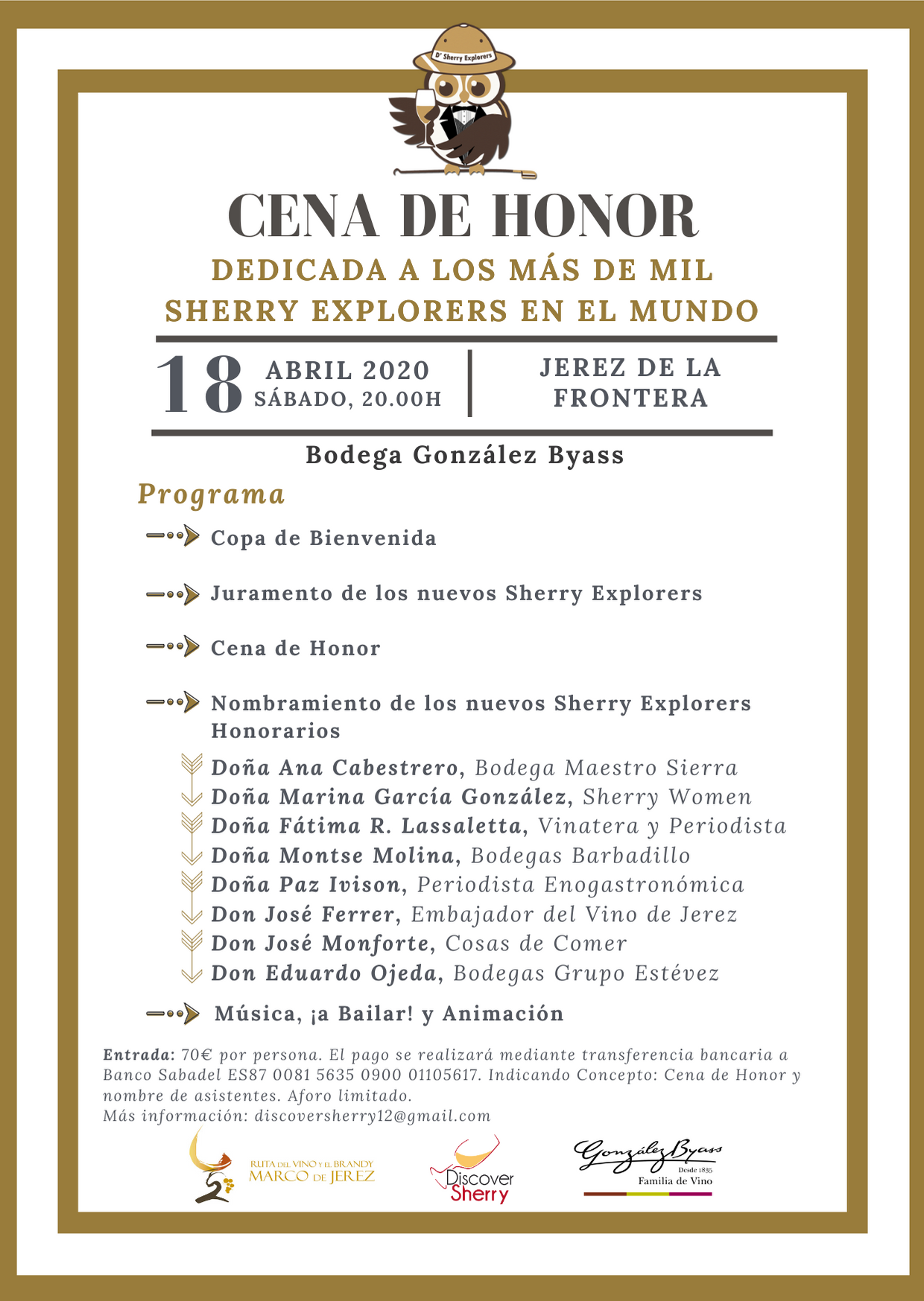 CENA DE HONOR de los Sherry Explorers 2020 (Spanish)