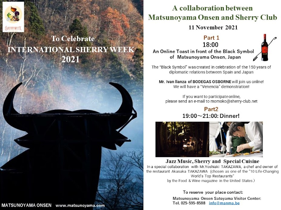 Celebrando la International Sherry Week en Japón frente al símbolonegro